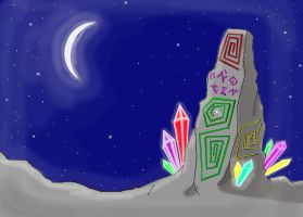 Megalith with crystals by Mistgod