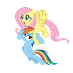 Fluttershy dragging Rainbow Dash by Angel-the-Bunny
