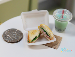 Ham and Swiss Sandwich With Bubble Tea by WaterGleam