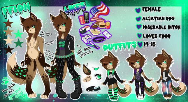 Fursona Ref. Sheet 2014 by RoseGoId