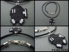 Handmade Seed Bead Bob-omb Necklace by Pixelosis