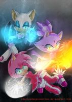 Blaze Amy and Rouge by shallowdeepcreation