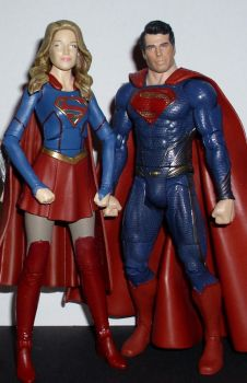 DC Multiverse figures Supergirl and Superman by CyberDrone2-0