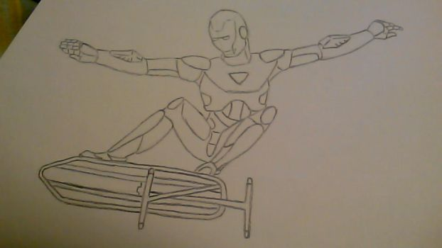 IronMan Ironically skateboarding on Ironboard by Sorceress-Rallah