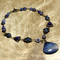 Steampunk Necklaces Agate Blue by CatherinetteRings