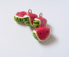 Watermelon Slice Charms by MariposaMiniatures