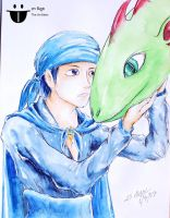 Min Bin and his Green Giant Dragon (Leviathan) by sw-eden