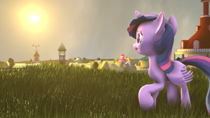 The sunset over Ponyville by indexpony