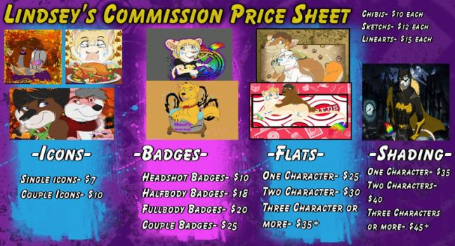 Commissions Price Sheet 2017-2018 by RainbowStarLioness
