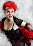 Showgirl in red and black by freakledlioness