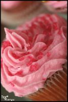 red sugar on pink cupcake by MajorKoryu