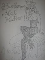 Burlesque Mad Hatter-lineart by JadasArtVision