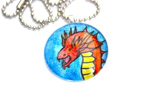 Hand Drawn Fire Dragon Pendant by PinkChocolate14
