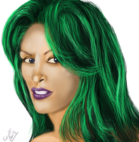 Green-haired-beauty wip by cliffbuck