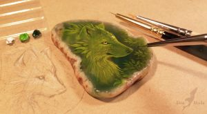Green wolf - stone painting by AlviaAlcedo