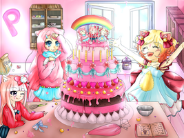 Pinku Pink Friends baking a huge cake by Royal-Fluffy