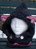 Starry Twilight with Pink Fantasy Fox Hood/Cowl by Arexandria