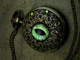 Regal Pocket Watch - Peridot Green Eye by LadyPirotessa