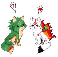 Chibi Amaterasu and Link by VampireBlackBlood