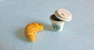 Breakfast croissant n coffee by gracelyt