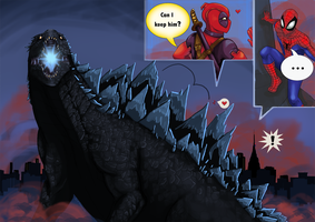 Godzilla, Deadpool pet? by anime-gal