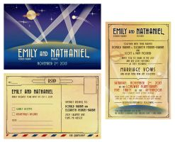 Art Deco Space Themed Wedding RSVP and Invitation by zombie2012