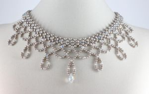 Platinum Pearl Bridal Choker by BeadfulStrings