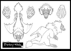 Barbary Whelp Contest Line-art by WormsandBones