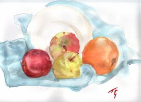 fruits and a plate by attitudechick