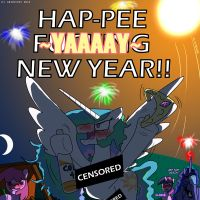MLP: Happy -CENSORED- New Year by AniRichie-Art