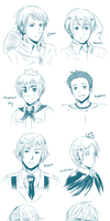 Doodles 17: Nyotalia Boys by ExelionStar