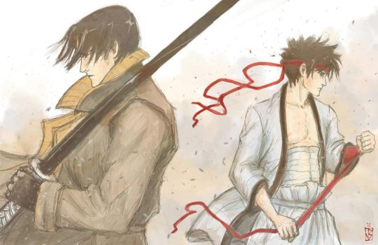 Aoshi and Sano by janey-jane