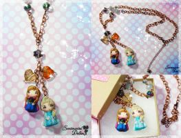 Frozen Sisters Elsa and Anna Necklace by SentimentalDolliez