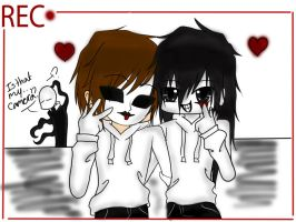 Creepypasta - Jeff and Masky by Kyun-Sein