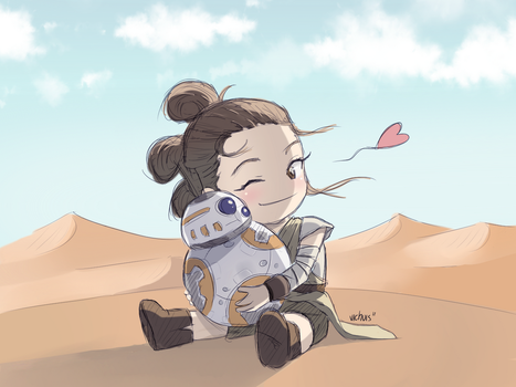 May the 4th! | Rey and BB-8 by Vichuis