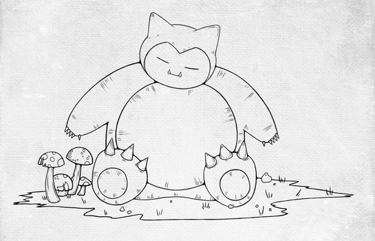 Finished Snorlax Lineart by twitchydoo
