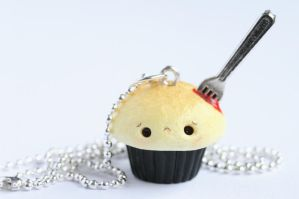 Bleeding Cupcake Halloween Necklace by RawrRufus