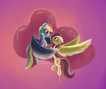 Rainbow and Fluttershy by Hiponov