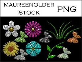 STOCK PNG Butterfliesflowers by MaureenOlder