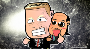 Brock Lesnar and Paul Heyman Chibi Wallpaper by kapaeme