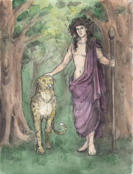 Dionysus and a leopard by AnotherStranger-Me