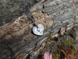 Tiny Heart Leaf with Pale Pink CZ by QuintessentialArts
