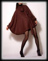 Brown Coffee Batwing Cloak Top by yystudio