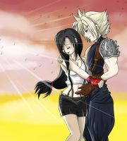 Cloud x Tifa - Final Fantasy VII by Khaneety