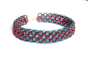 Red and Blue Double Helm Choker by SerenFey