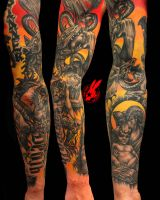 Hell Woodcut Sleeve tattoo by Jackie Rabbit by jackierabbit12