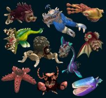 More Spore Sea Monsters by Monster-Man-08