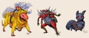 Trade - Two Fluffy and One Chitinous Monsters by Gomis