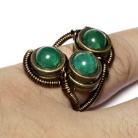 Steampunk 3 Green Stone Ring by CatherinetteRings