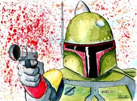 Boba Fett Watercolors by Fellhauer